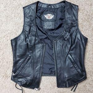 Harley Davidson Leather Biker Vest Lace Up Zip